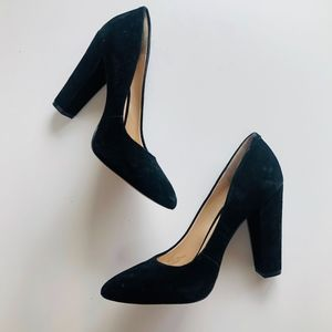BCBGeneration Black Suede Block Heels